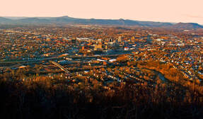 view of the city of Roanoke in Virginia during sunset